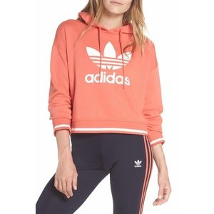 Adidas Coral Cropped Hoodie Size XL